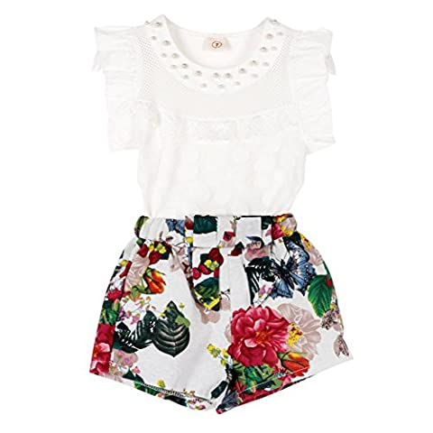 2pcs Baby Girls Kids Dress T-shirt Tops+Floral Pants Summer Clothes Outfits Set
