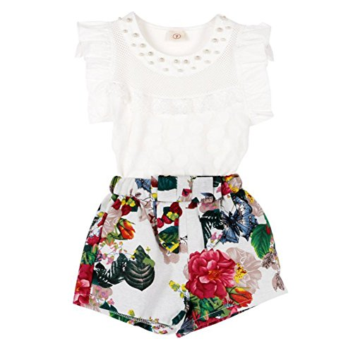 Balai Toddler Girls Baby 2PCS Clothes T-shirt Tops+Skirt Shorts Dress Outfits Set M