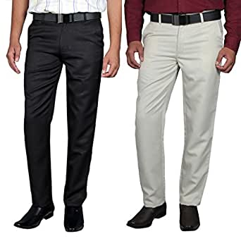 Routeen Men's Straight Regular Fit Casual Pants - Beige, Black (Combo Pack of 2)