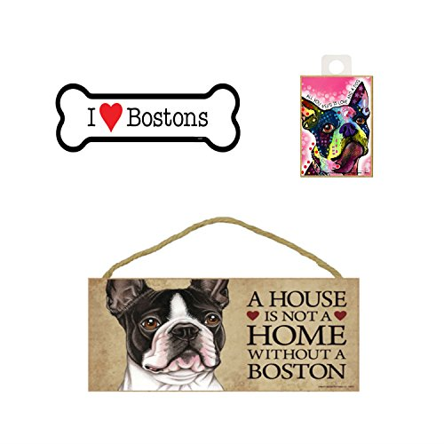 Boston Terrier Hund Lover Geschenk Bundle-Deko Wand Schild A House is Not A Home Without A Boston, Auto-Magnet I Love Bostons, und Kühlschrank Magnet All You Need is Love and a Dog -