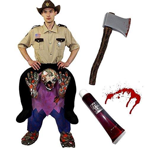 PICK ME UP ZOMBIE UNTERTEIL DER VON EINEM POLIZISTEN/SHERIFF INS GEFÄNGNISS GERITTEN WIRD MIT KUNST BLUT UND PLASTIK AXT = EIN ZOMBIE DER EINEN SHERIFF TRÄGT =DIE PERFEKTE VERKLEIDUNG AN (Gruppe Große Lustige Halloween Kostüme)