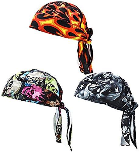 FREEMASTER Sports Bandana Cap Schwarz Rot Weiß Herrem Damen Biker Bandanas Kopftuch Hat (Schwarz) (8) Harley Davidson Baby Mütze