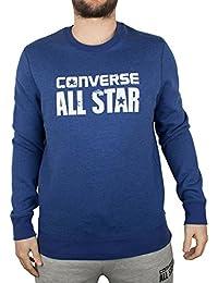 Converse Homme Porté All Star Logo Sweatshirt, Bleu