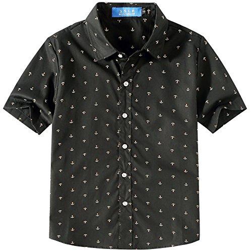 SSLR Jungen Hemd Kurzarm Gedruckt Baumwolle Freizeithemd Button Down Shirt (Medium (9-11Jahren), Schwarz)