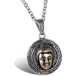 Jewelrywe Joyería colgante, collar de mujeres de los hombres, Colgante, Cadena 55cm Disponible, Buda Sakyamuni Buda, Acero Inoxidable, Plata