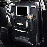 LCTSNH Leder Autositz zurück Aufbewahrungstasche und iPad Mini Stand, Kind Rücksitz Auto Aufbewahrungsbox, Aufbewahrungsflasche, Tissue Box, Auto Reisen Zubehör (1 Paket, schwarz)