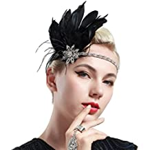 Babeyond tocado de plumas banda de bodas Flapper banda de cristal de plata de las mujeres con la cinta