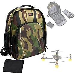 Sac à dos camouflage vert de transport pour mini drone PNJ DR-50, PNJ Cicada plus (Elanview), PNJ Smart Fly & LS-Pico et accessoires - avec compartiments modulables, par DURAGADGET