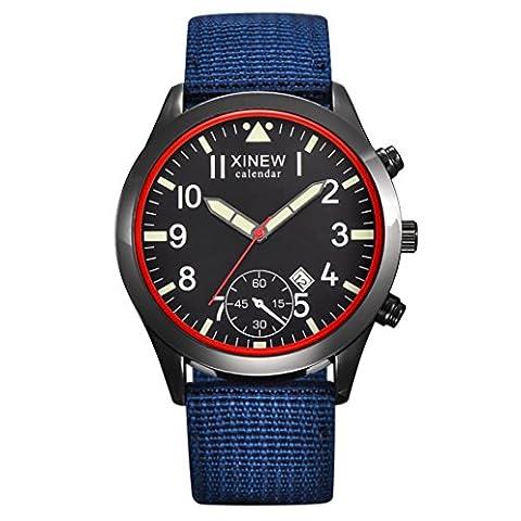 Homme montre, Honestyi Mode pour homme militaire Armée montre à quartz Noir Date de luxe Sport lumineux montre bracelet
