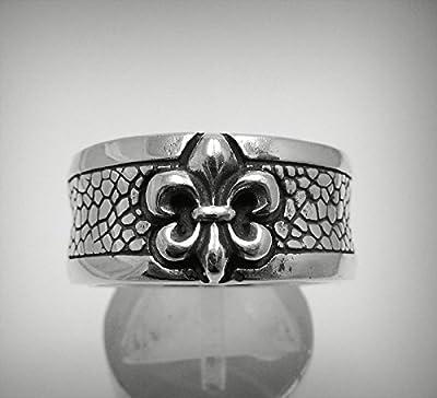 Bague en argent massif 925 anneau fleur de lys R001225
