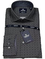 Lerros Herren Hemd Modern Fit Haikragen grau / schwarz 4681840 291