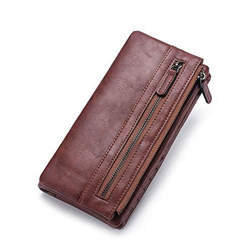Pochette da uomo in vera pelle con cerniera doppia borsa con cerniera 4 portafoglio intercambiabile con cerniera Nero