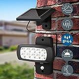 Faro LED solare esterno con sensore di movimento e crepuscolare, luce fredda 6500K, luce di sicurezza con accensione automatica, pannello solare, lampada da parete per cortile, giardino, nero, IP44