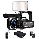 ORDRO Videocamera 4k, Videoregistratore Videocamera Videocamera IPS WiFi 3.1'' 1080P 60FPS con Microfono, Luce LED, Obiettivo Grandangolare, Supporto Portatile e Custodia
