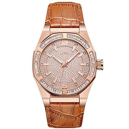 JBW Hombres del reloj de Diamond con cristales de Swarovski oro rosa