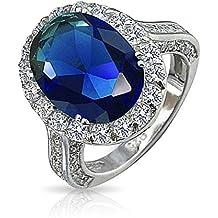 Bling Jewelry 925 Vintage ovale CZ Reale colore dello zaffiro anello di fidanzamento