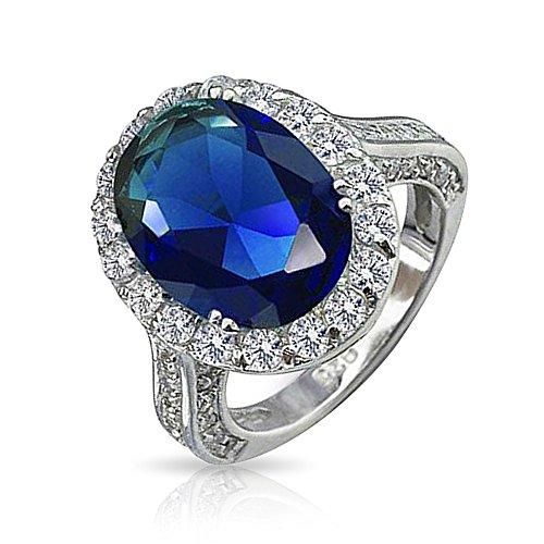 Bling Jewelry Argent 925 Bijoux style Vintage simulé bague de fiançailles Saphir ovale