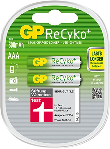 Galleria fotografica GP Batteries ReCyko+ AAA Nickel Metal Hydride 800mAh 1.2V rechargeable battery - rechargeable batteries (800 mAh, Nickel Metal Hydride, AAA, 1.2 V, Multicolour, 2 pc(s))