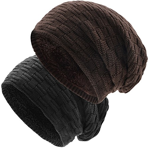 UPhitnis Long Wintermütze - Unisex Warme Slouch Beanie Mütze in Feinstrick mit Fleece Innenfutter für Herren Damen