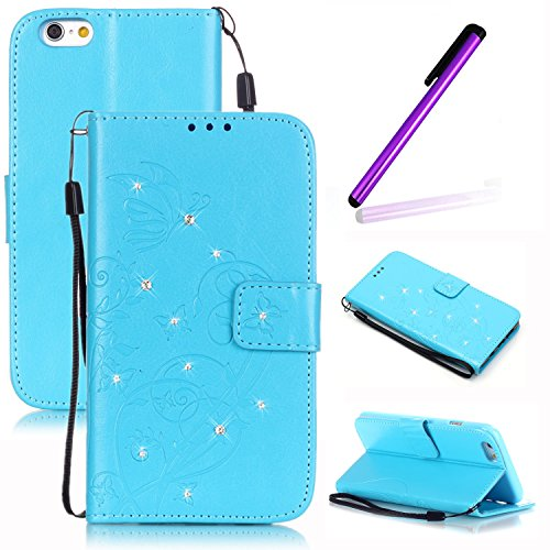 Etui Housse pour iPhone 6S Plus Coque Swag,iPhone 6S Plus Case Flip Cuir,iPhone 6S Plus PU Leather Case Wallet Cover Flip Coque,EMAXELERS Protecteur Etui Housse de Protection Étui Coque Flip PU Cuir P F Diamond Butterfly 4
