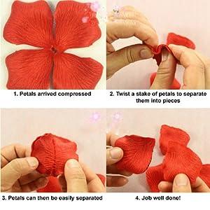 BestOfferBuy 1000Uds. Pétalos de Rosa en Seda Roja para Decoración Bodas Fiestas Confeti