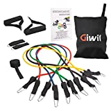 Giwil 12 pcs Resistance Band Set, Stretch Bands, Exercise Band Kit, Fitness Resistance Band Set, Fitness Tubes with Door Anchor/Ankle Straps/Workout Guide/Carrying Pouch, Best for Building Muscle, Fat Loss, Rehabilitative Exercises