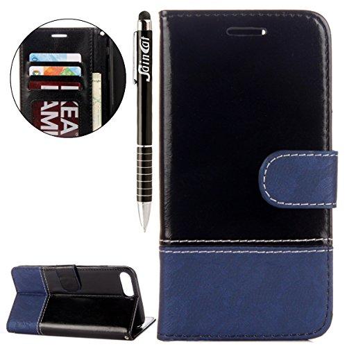 iPhone 7 Plus Custodia, iPhone 7 Plus Cover Wallet, SainCat Custodia in Pelle Cover per iPhone 7 Plus, Anti-Scratch Protettiva Caso Elegante Creativa Dipinto Pattern Design PU Leather Flip Portafoglio Nero + Blu