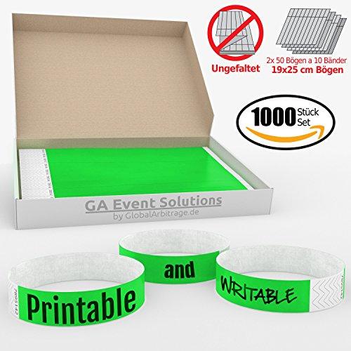 1000 Eintrittsbänder aus Tyvek zum selbst gestalten und bedrucken in Grün von GA Event Solutions - Party Einlassbänder, Festival Armbänder für dein Event (Tyvek-armbänder 1000)