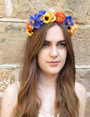 Bleu Jaune Orange Rose Tournesol Fleur Bandeau cheveux Guirlande Couronne de Mariée X-60 * * * * * * * * exclusivement vendu par – Beauté * * * * * * * *