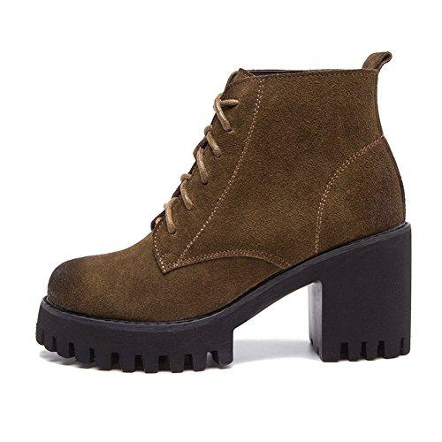 Damen Sneakers Rundzehen Plateau Blockabsatz Retro Winter Stiefeletten Khaki