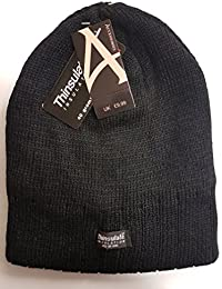 Mens Thermal Ribbed Beanie Hat Thinsulate Insulation 40 Gram Black Winter Warm Fleece Lined