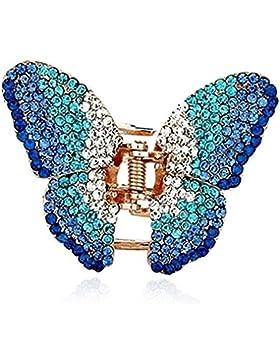 Strass Haarspange Schmetterling Hochzeit Braut Haarclip Türkis Blau