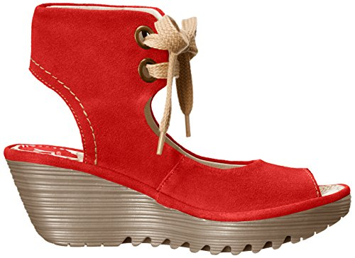 FLY London Yaffa, Sandales Compensées femme Rouge (Oil Street Red)
