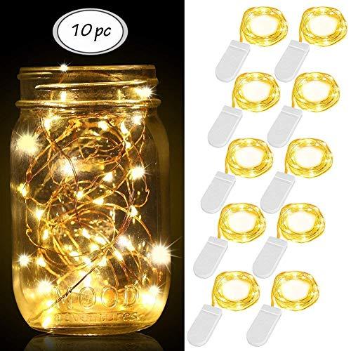 LED Lichterkette, 10er LEDs Lichterkette Kupferdraht, LED Kupfer Drahtlichterkette LED String Licht Weihnachtsbeleuchtung für Outdoor, Innenbeleuchtung, Garten, Hochzeit, Party, Weihnachten - Warmweiß