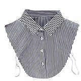 Loveso Frauen Neue Bluse Abnehmbare Gefälschte falsche Kragen Baumwolle Revers Shirt Kragen Rose Weiß (One Size, Dunkelgrau(Streifen))