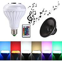 Bombilla Altavoz Bluetooth E27 12W Bombilla LED Música Blanco y RGB con Altavoz Incorporado 24 Teclas Controlador Remoto