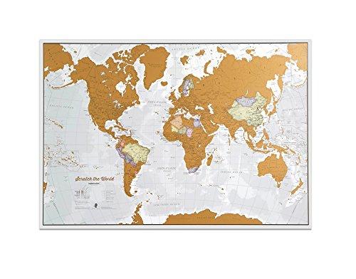 Scratch the World® poster mappa del mondo - da grattare via i posti in cui viaggi - i migliori dettagli cartografici - Idee regalo - 84 x 59 cm