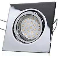 Innenbeleuchtung 5 Stück SMD LED Einbauleuchte Luisa 230 Volt 5 Watt Step Dimmbar Schwenkbar Chrom/Neutralweiß