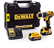 DeWalt 18V 13mm Compact Hammer Drill, 2 x 5.0Ah batteries, charger and kit box, Yellow/Black, DCD796P2-GB, 3 Y