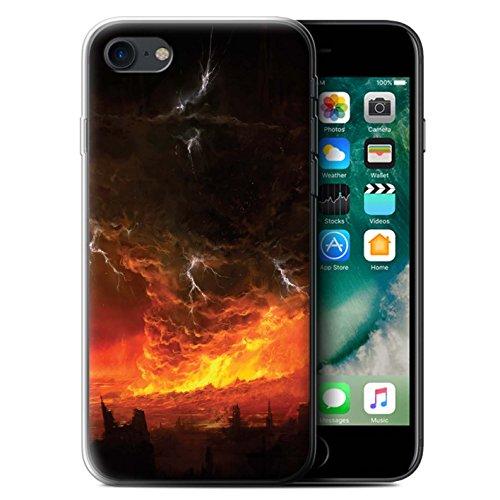 Offiziell Chris Cold Hülle / Gel TPU Case für Apple iPhone 7 / Dragonfel Tempel Muster / Gefallene Erde Kollektion Apokalypse