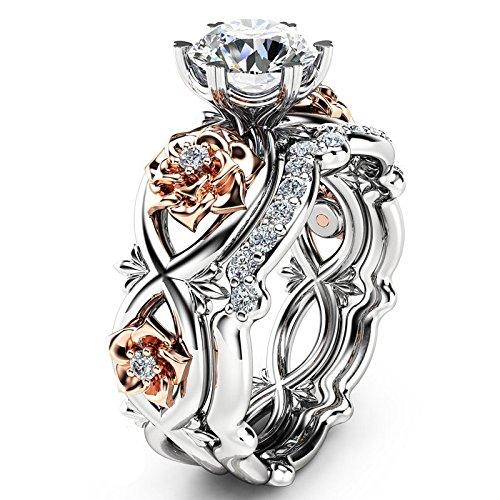 Sonnena Valentinstag Frauen Silber Rose Gold archiviert weiße Hochzeit Engagement Floral Ring diamantring rosenring Perle platinringe Sterling schmal goldring verlobungsring titanringe