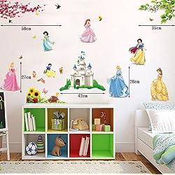 Adhesivos decorativos para pared, diseño de princesas y castillo