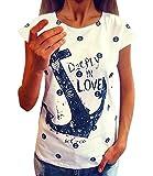 Minetom T-Shirt O-Collo, sexy Shirt für Damen mit kurzen Ärmeln, Motiv: Anker (IT 40, Bianco)