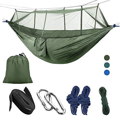 LATTCURE Hängematte mit Moskitonetz Traggurt und Karabinerhaken aus Fallschirm-Nylon Tragfähigkeit bis 300 KG Garten Reise Camping Hammock