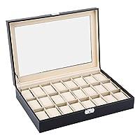24 Grids Faux Leather Watch Display Box Case, Jewellery Display Storage Box Bracelet Tray Jewelry Storage Organizer Holder Showcase, Black