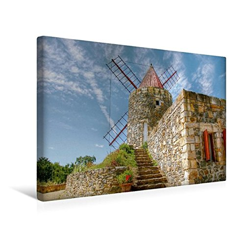 Calvendo Premium Textil-Leinwand 45 cm x 30 cm quer, Provenzianische Windmühle aus Frankreich nahe Arle in der Provence | Wandbild, Bild auf Keilrahmen. Leinwand, Leinwanddruck Natur Natur -