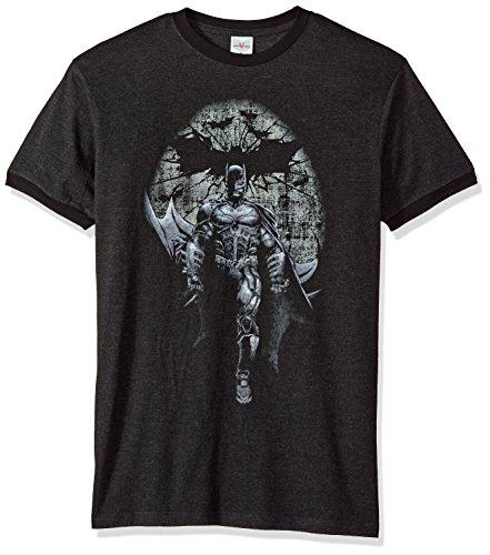 Trevco Herren Batman Dark Knight Rises Distressed Ringer T-Shirt, Heather/Black, Klein