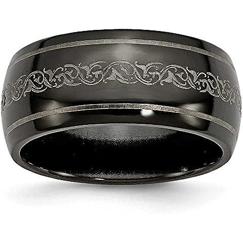 Titanio Nero Ti bombato con cartuccia, 10mm lucido anello a