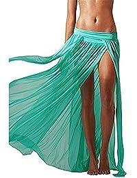 Vandot Damen maxiröcke Mädchen Boho Plissee Retro Maxiröcke Stretch Perspective Side Split Bademode Beachwear Cover up Dress elastischen Bund Kleid Sommerkleid Strandkleid