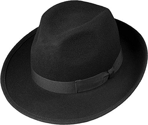 Schwarzer Wollhut in klassischer Bogart Form, Größen:55